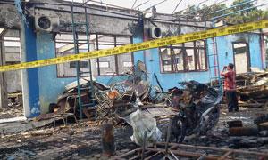 Foto TKP Kebakaran Kantor Damkar Pariaman.
