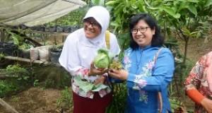 Dua anggota Tim Verifikasi APN 2015 dari Kementerian Pertanian, pegang hasil pertanian milik KWT Bunga Melati Padang Alai.