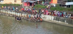 Suasana pencarian korban tengelam di Padangpariaman.
