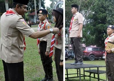Ketua I Kwartir Cabang 0314 Gerakan Pramuka Kota Payakumbuh Ir Mediar Indra MSi Irup Kompetisi Pramuka Penggalang IV Tahun 2016 se-Sumatera Barat