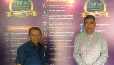 Wawako H Suwandel Muchtar dan Kadisdukcapil Kota Payakumbuh Mediar Indra di Gelar Inovasi Pelayanan Publik 2016 di Surabaya. H Suwandel Muchtar Bertekad segera untuk Payakumbuh.