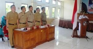 Lima Camat Limapuluh Kota ikuti uji kopetensi dalam sidang utama pimpinan pratama di Aula Kantor Bupati.