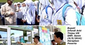 Bupati Irfendi Arbi Tinjau UN SMP, Harapkan Peserta Ujian Selalu Berdoa