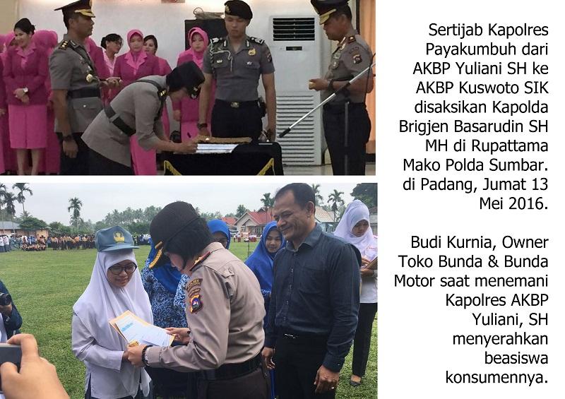 Kapolres Payakumbuh AKBP Yuliani, SH sertijab AKBP Kuswoto SIK