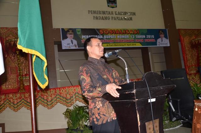 Setdakab Padangpariaman Jonpriadi pada saat memberikan sambutan pada acara  EHRA (Environment Health Risk Assesment) di IKK Parit Malintang