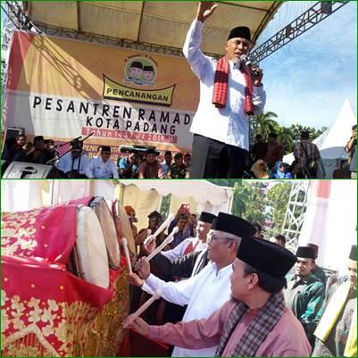 Peluncuran Pesantren Ramadhan 1437 H/2016 M yang digelar Pemerintah Kota Padang di Lapangan Imam Bonjol, Kamis (2/6).