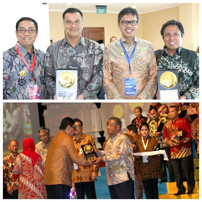 Plt Walikota Priadi Syukur, Kadis DPPKA Syafwal, Gubernur Irwan Prayitno terima Anugerah Dana Rakca 2016