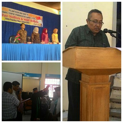 Pelantikan Pengawas TPS se-Payakumbuh Timur. Sekretariat Panwascam Payakumbuh Timur Bakhtaruddin membacakan SK Pengawas TPS Payakumbuh Timur, disusul SK lainnya.