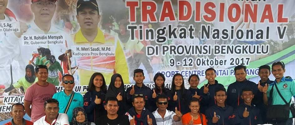Kontingen Sumatera Barat yang diwakili oleh Tim Lima Puluh Kota dalam ajang Pekan Olahraga Tradisional Tingkat Nasional V di Bengkulu 9-12 Oktober