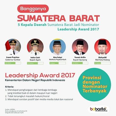 Bangga, Leadeship Award 2017. Dari 5 nominator, 4 mendapatkan award ini. Termasuk Walikota Payakumbuh, H. Riza Falepi.