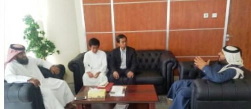 Thoriq dan Sang Abi Edi Rahmat saat bertemu Deputi Kepala Kantor Kementerian Awqaf Qatar Syech Muhammad Jabir - kanan di Tower Kementrian Awqaf ditemani Kepala Makhad Dini Qatar Syech Ali Al Marri.