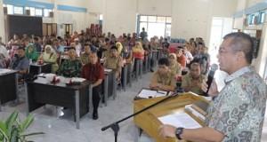 Walikota Riza Falepi ketika memberi sambutan pada acara Musrenbang Kecamatan Payakumbuh Timur, di SKB Payakumbuh, Selasa