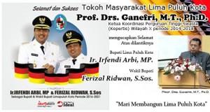 Ucapan Selamat Atas Dilantiknya Bupati dan Wakil Bupati Lima Puluh Kota dari Tokoh Masyarakat Prof. Drs. Ganefri, MT, Ph.D.