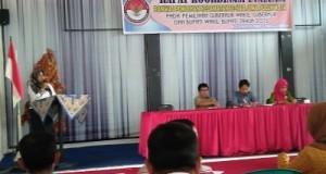 Rakor Evaluasi Panwaslih Limapuluh Kota, Kamis 10 Maret, di Gedung Pertemuan Sagho Bungsu di Tanjung Pati.
