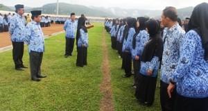 Wakil Bupati Ferizal Ridwan memeriksa gelar pegawai berseragam Korpri.