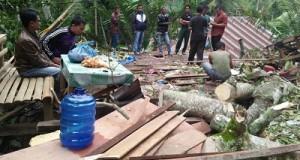 Kodai kayu yang hancur ditimpa Batang Damar di Kurai, Kecamatan Suliki Kabupaten Limapuluh Kota-